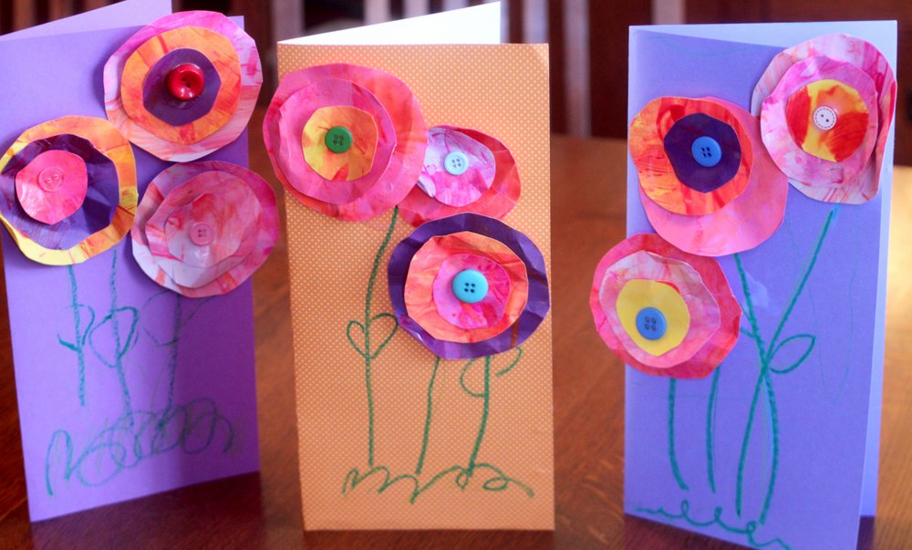 Mothers Day Craft Ideas Kids Part - 43: Circular Painted Paper Flower Motheru0027s Day Card U0026 Crafts