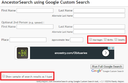 User-suggested Enhancements to AncestorSearch using Google Custom Search