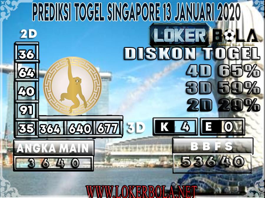 PREDIKSI TOGEL SINGAPORE LOKERBOLA 13 JANUARI 2020