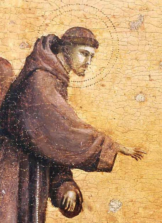 São Francisco de Assis prega aos passarinhos, detalhe. Ambrogio Bondone Giotto  (1266-7 – 1337), Louvre, Paris.
