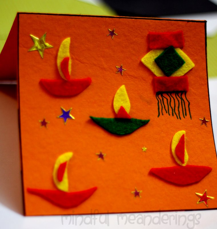 Marvelous Diwali Craft Ideas For Kids Part - 8: Diwali Handmade Card For Kids To Make · Diwali Crafts From The  Artsy-craftsy Home