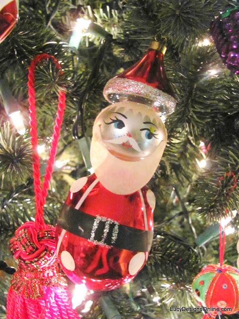 vintage glass santa claus ornament