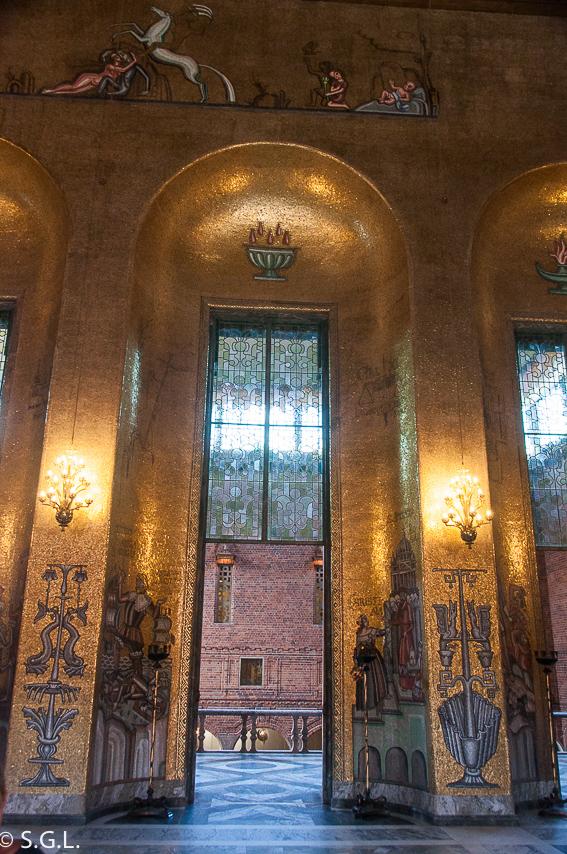 Detalle Sala dorada. El ayuntamiento de Estocolmo a orillas del lago Malaren