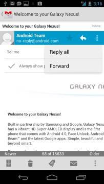 GMail no Samsung Galaxy Nexus