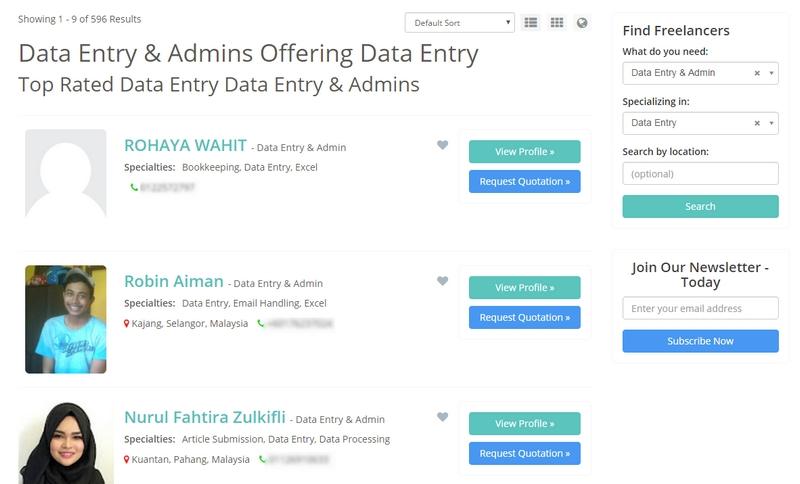 Tawaran kerja online data entry admin