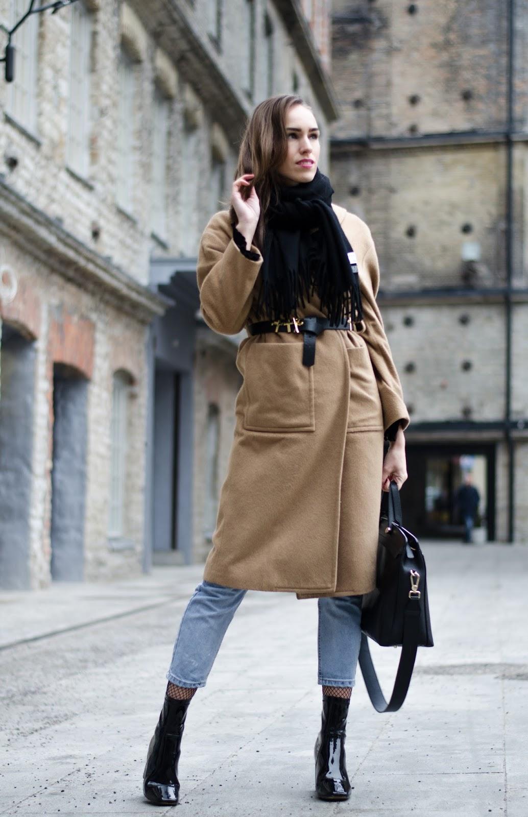 kristjaana mere camel coat black sock boots outfit