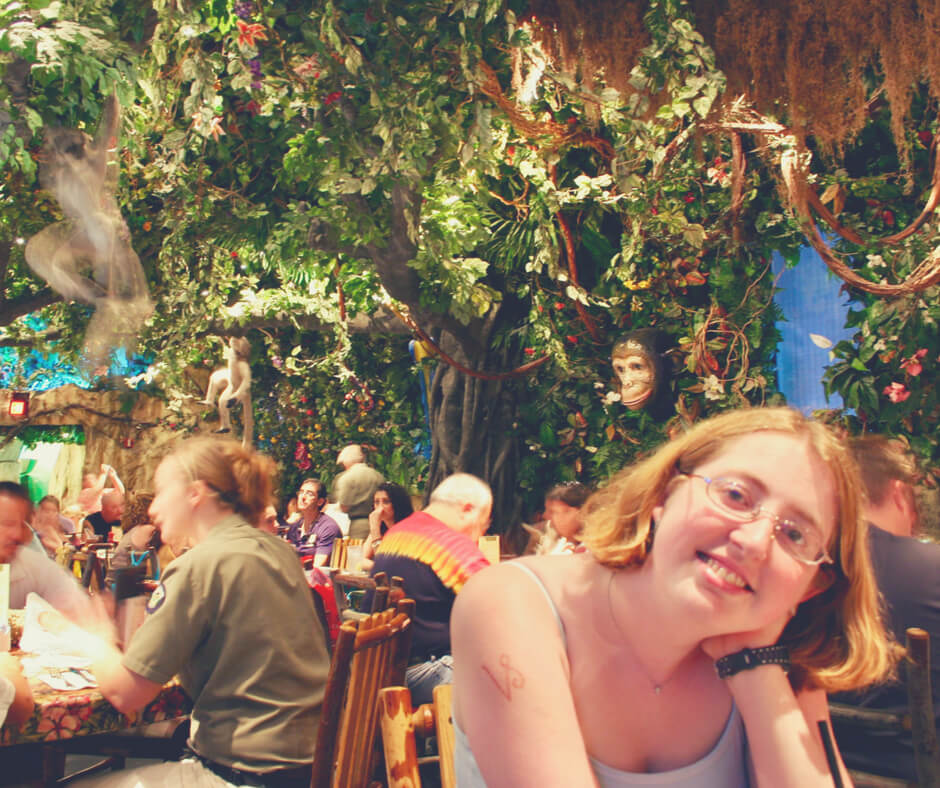 Inside the Rainforest Cafe in Disney Springs Walt Disney World.