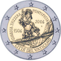 vatikaani 2 euroa kolikko sveitsiläiskaarti 2006