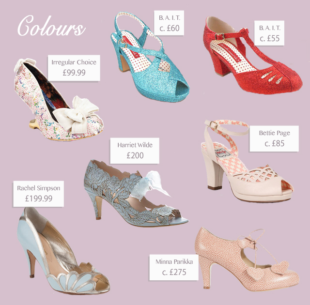 Alternative and quirky vintage style footwear for weddings - both the bride and the guests