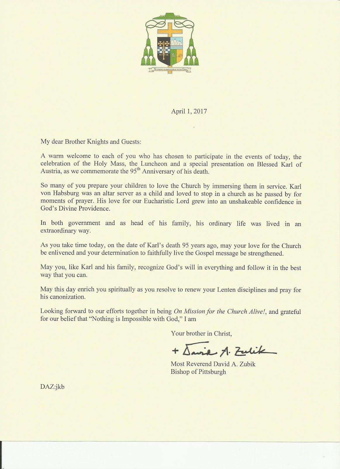 Knights of columbus latin mass april 2017 letter of greeting from most reverend david a zubik bishop of pittsburgh kristyandbryce Gallery