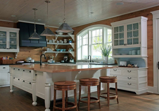 wooden kitchen backsplash in a country style