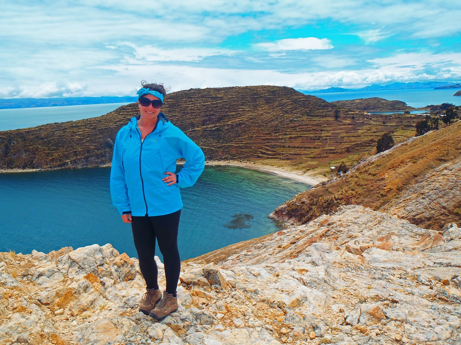 Girl hiking on Isla Del Sol Lake Titicaca