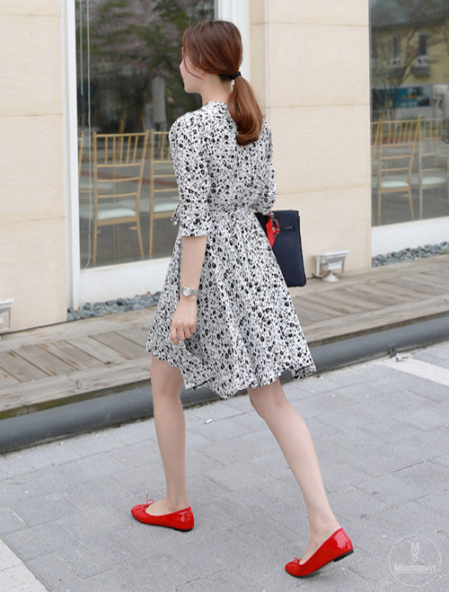 Floral Surplice Neck Belted Dress
