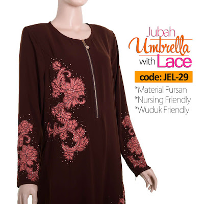 Jubah Umbrella Lace JEL-29 Brown Depan 7