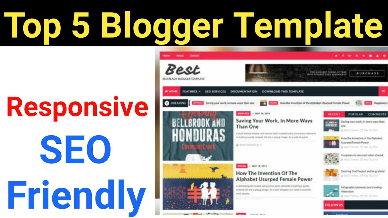 Top 5 Free Blogger Templates 2018 Responsive Seo Friendly