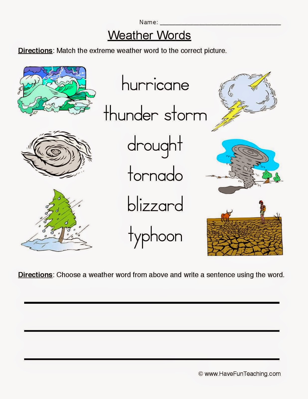Grammar And Vocabulary Weather Conditions Worksheet