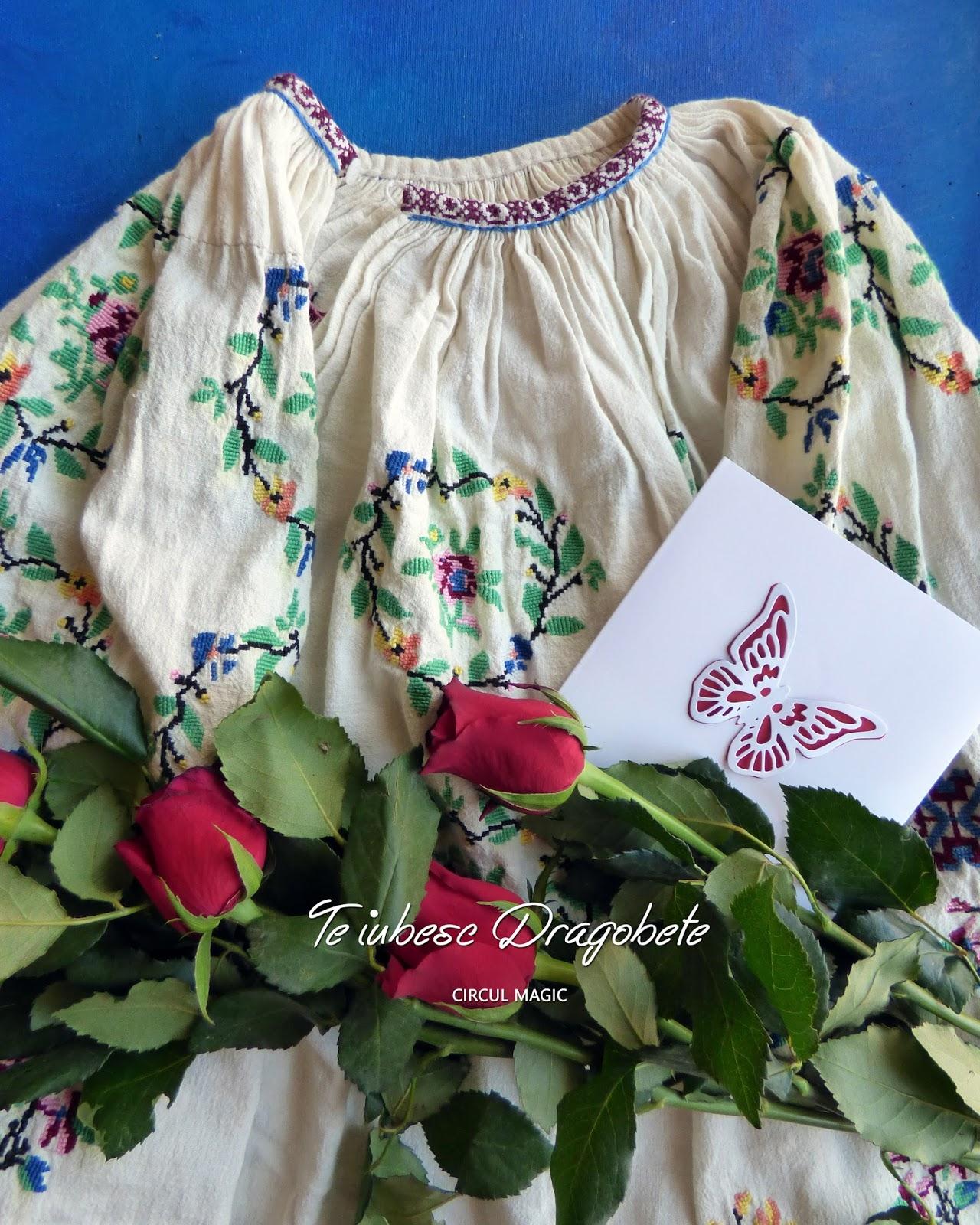 Te iubesc Dragobete Ie Broderie Trandafiri Felicitare Fluture Handmade