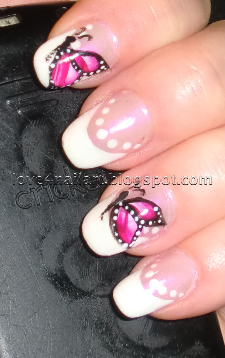 Nail Designs Products More: Love4NailArt: Elegant French W/ Butterfly Nail Design