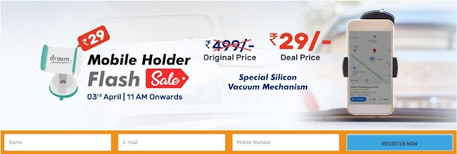Droom Mobile Holder Flash sale Get Mobile Holder at Rs.29 only.