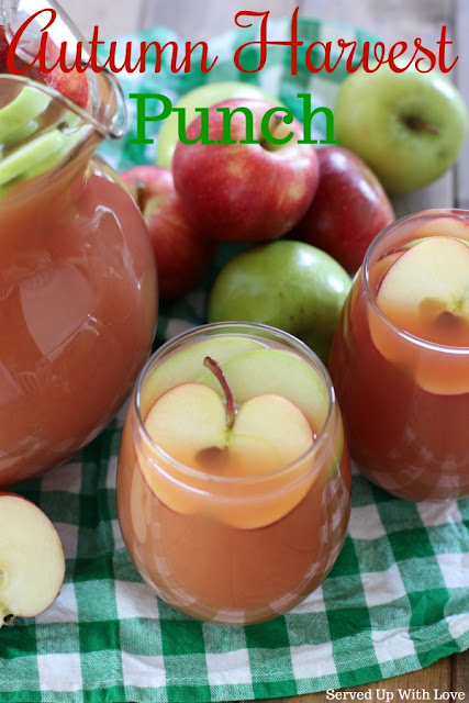 Autumn Harvest Punch recipe from Served Up With Love. Apple, pears, cranberries, oh my!! This is THE party punch for all those Fall parties!!
