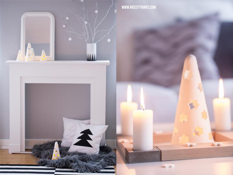 weiße Kaminkonsole Kaminumrandung mit Weihnachtsdeko