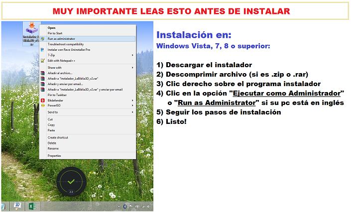 Instrucciones y pasos a seguir luego de descargar el instalador para instalar el programa LA SANTA BIBLIA 3D 2.0 en sus PCs o portátiles
