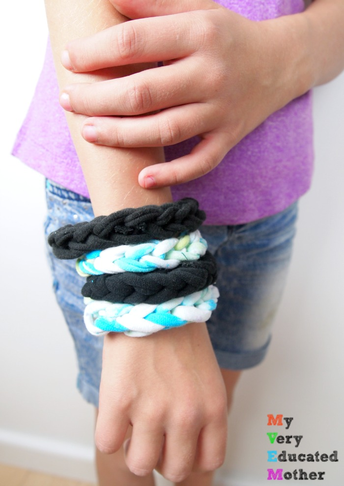 Use your old tshirts to create these fun bracelets with the kids. A great craft to make during scouts or camping!