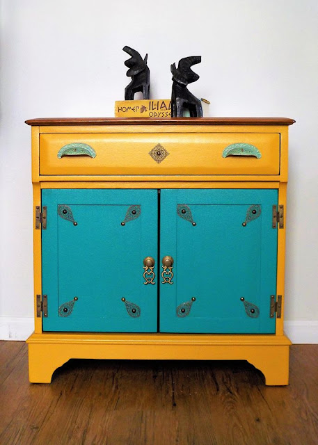 colorful dresser makeover