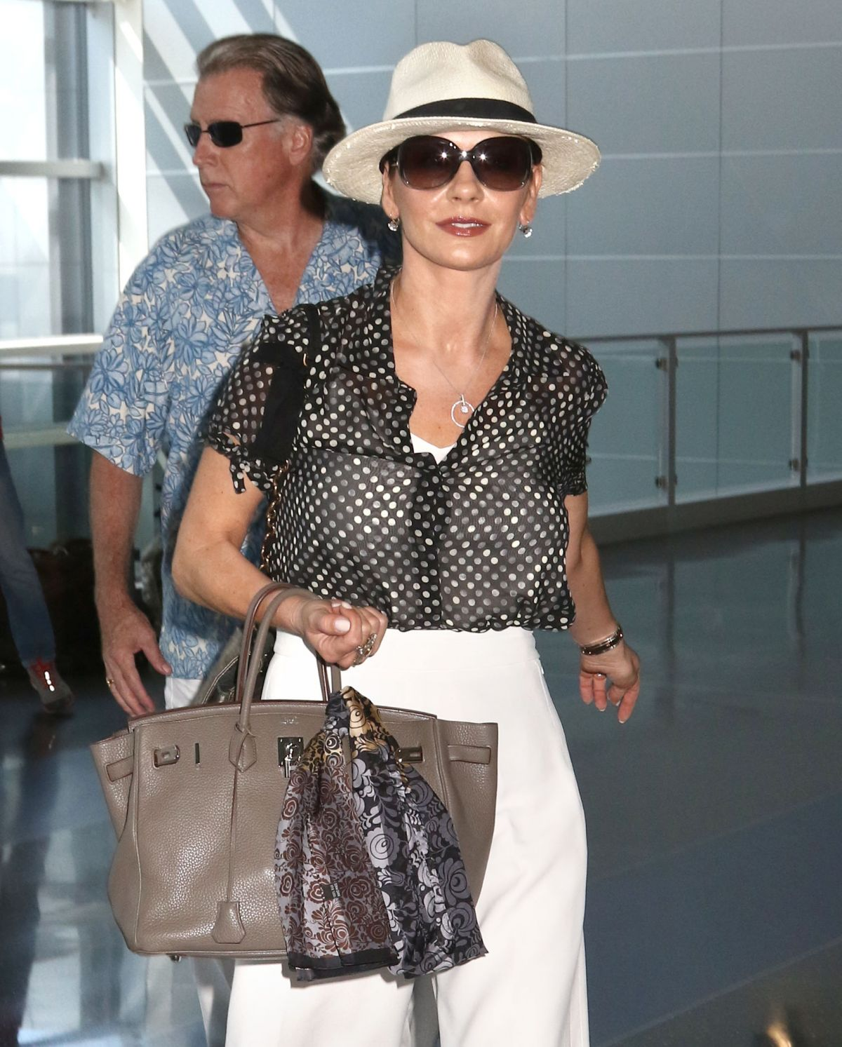 Catherine Zeta Jones At JFK Airport In New York HD Photos