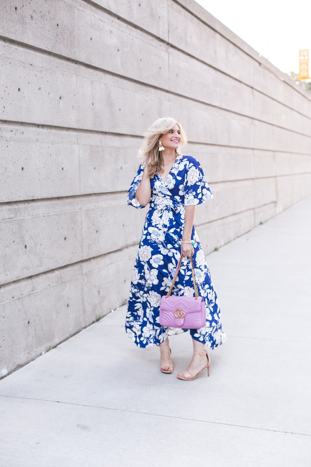 Bijuleni - This floral dress is only $18 plus 7 Easy Ways To Transition Your Summer style to Fall - Floral print maxi dress, Gucci Marmont Matelasse handbag and nude strap heel sandals ootd
