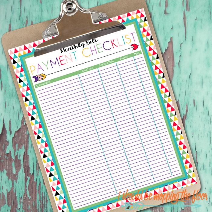 free printable monthly bill payment checklist a series of over 30 free organizational printables from