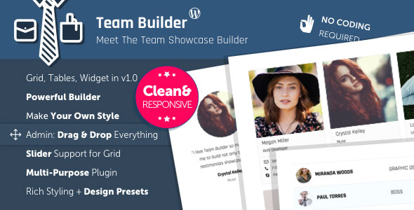 Free Download Team Builder V1.1 Meet The Team WordPress Plugin