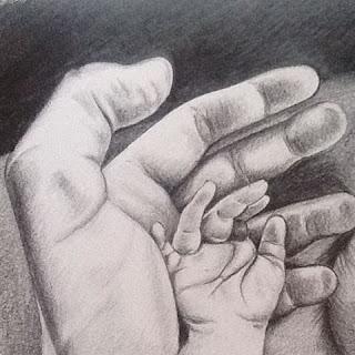 sketsa pensil tangah ayah dan anak