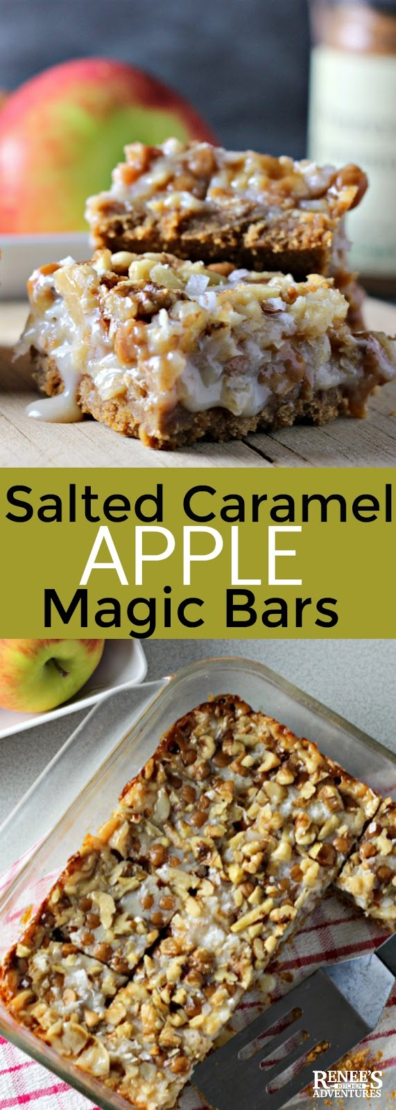 Salted Caramel Apple Magic Cookie Bars | Renee's Kitchen Adventures - an easy dessert recipe that takes the classic Magic Cookie Bar Recipe and transforms it into a tasty Fall flavored one with apples, caramel, and cinnamon. #apple #caramel #cookie #cookiebar #recipe #barcookies #fall