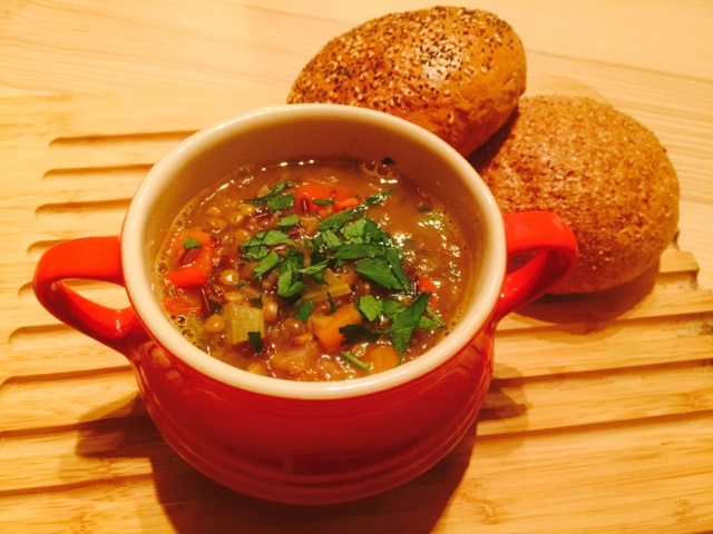 Vegetarian soup with lentils and wild rice