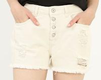 short en jean destroy blanc