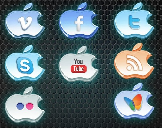 apple design social icons set