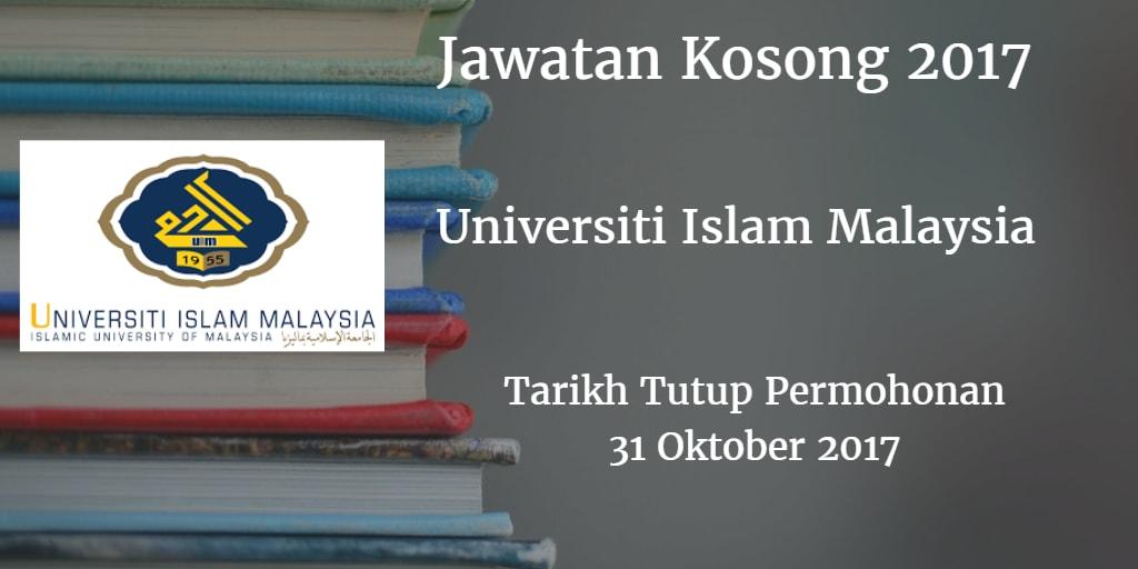 Jawatan Kosong UIM 31 Oktober 2017