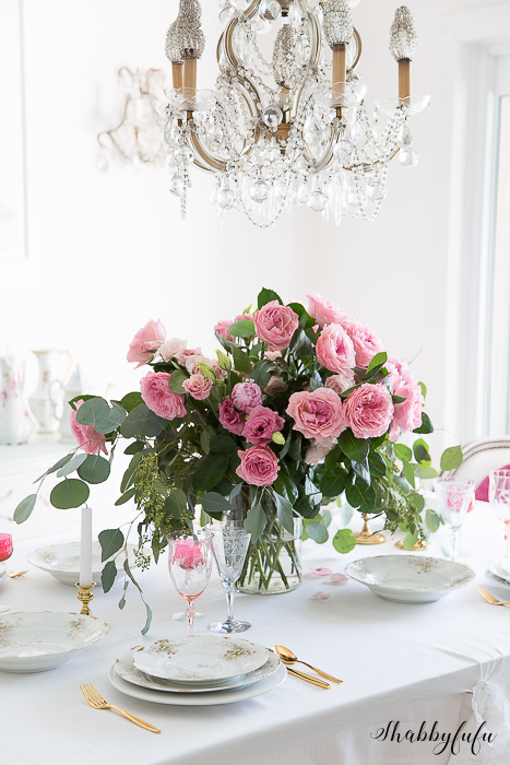 pink david austin roses arrangement