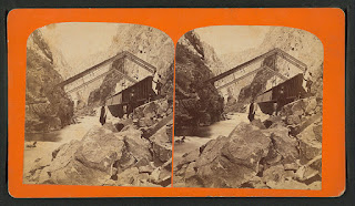 "ALT=""The iron bridge or hanging bridge of the Royal Gorge, 1879."""