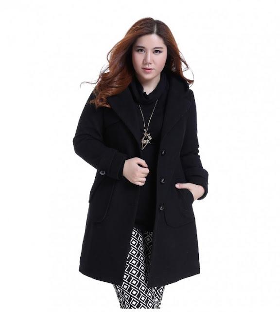 Mẫu áo khoác dạ màu đen sang chảnh cho người mập