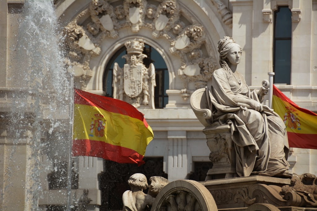 Cibeles Palace Madrid Fountain Spanish flags