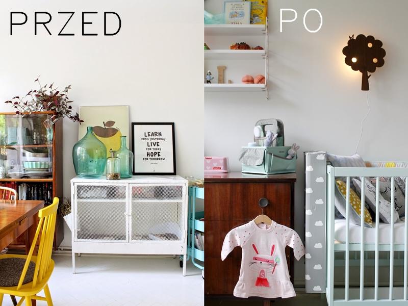 kawalerka przed i po, dziecko w kawalerce, bloggers baby shower