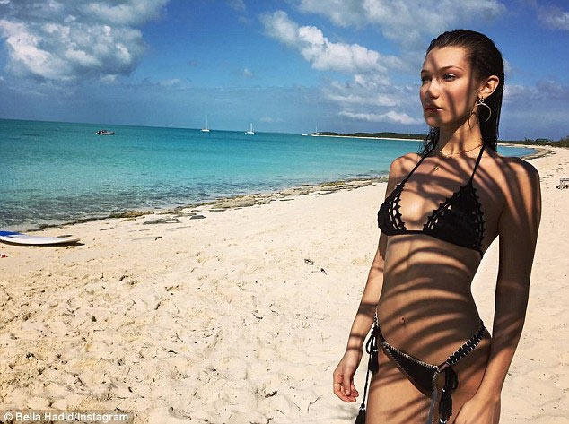 Bella Hadid flaunts her slim structure during bikini outing