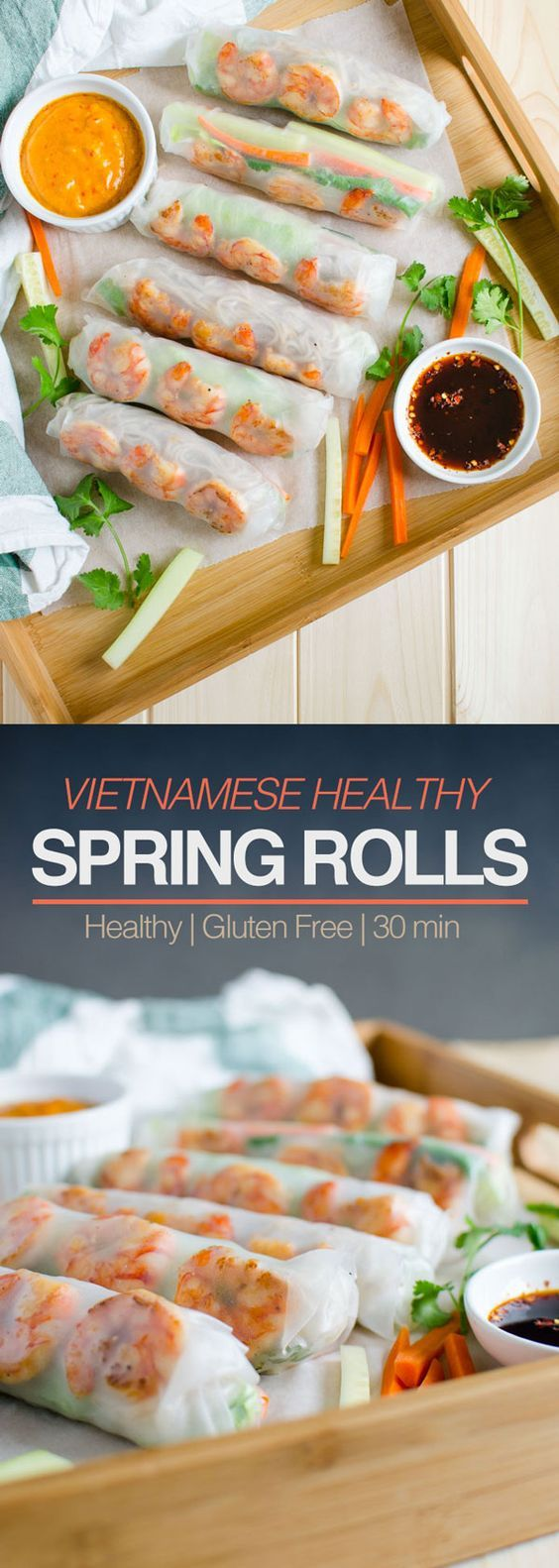 Vietnamese Healthy Spring Rolls with Peanut Butter Sauce Recipe