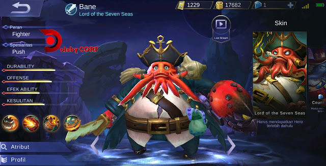 Mobile Legends : Hero Bane ( Lord of  the Seven Seas ) High Damage Builds Set up Gear