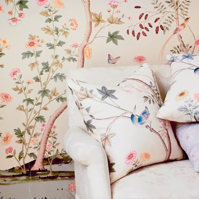 sophisticated and feminine fabric and wallpaper