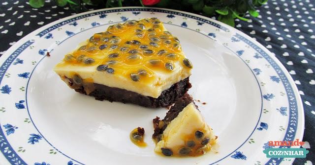 receita Torta mousse de chocolate e maracujá