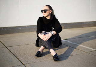 rooftop chilling, black and grey outfit