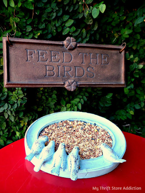 repurposed frame bird feeder